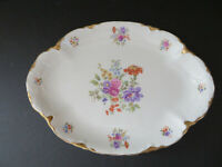 "Warwick China 13"" Oval Platter ~ Floral Gold Scallop Edging ~ Made in USA"
