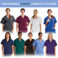 Unisex Men/Women Medical Hospital Nursing Scrub Top V-Neck Uniform (9 Colors)