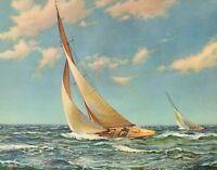 VINTAGE 8 X 10 BEAUTIFUL OCEAN SAILING SHIP SAILBOAT LITHOGRAPH ART PRINT #2