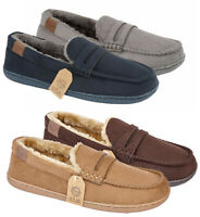 Mens Slippers Jo & Joe Mens Slip on Soft Touch Moccasins Fur Slippers Shoes Size