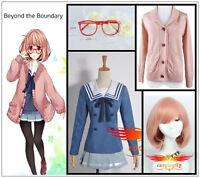 Beyond the Boundary Mirai Kuriyama Cosplay Costume sweater wig glasses full set