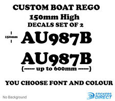 Custom Boat Rego Stickers 150mm High Registration Vinyl Decals Marine Set of 2