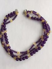 Genuine Amethyst & Citrine 3 Strand Bead/Chip Silver Necklace 18 + 2 Inches