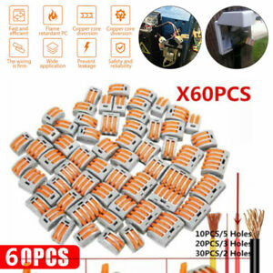 60Pcs Wago 222 Electrical Connectors Wire Block Clamp Terminal Cable Reusable
