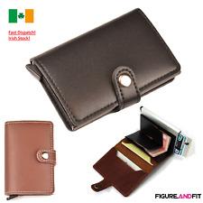 Leather ID Credit Card Holder RFID Wallet Pop Up Cash Holder Purse Slider Metal