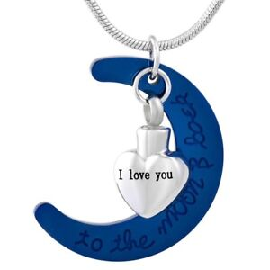 Cremation Memorial keepsake, Love heart & moon Pendant and Necklace for Ashes.