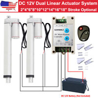 2PCS 12V Linear Actuators DC Motor +Forward Reverse Control Kits +Mount Brackets