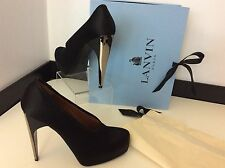LANVIN Black Satin Court Shoes NEW boxed RRP £560 Size 40.5 Uk 7.5 Heels
