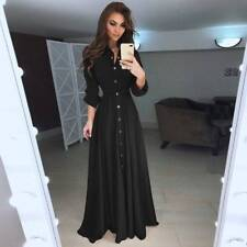 UK Women Long Sleeve Button Dowm Maxi Dress Evening Party Casual Shirt Dress