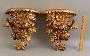 2 Vintage CORBEL Italian Rococo Hand Carved Gold Gilt Wood Wall Shelves NR!
