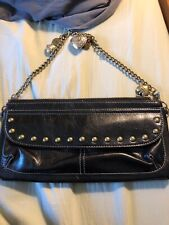 Kathy Van Zeeland Studded Black Shoulder Bag with charms, chain handle