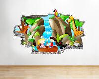 Q589 Cartoon Jungle Kids Bedroom Smashed Wall Decal 3D Art Stickers Vinyl Room