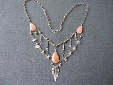Vintage ethnic rose stone & clear quartz beads silvered metal necklace