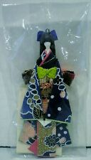 Japanese Origami Folded Paper Doll Ornament Wearing Blue Gold Kimono
