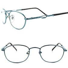Old School Vintage Retro Mens Womens Rectangle Blue Frame Clear Lens Glasses