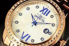 23663 Invicta Women's Angel Crystal Accented Bezel MOP Dial RGP SS Bracelt Watch