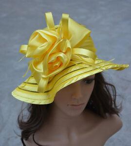 A214 Womens Church Wedding Kentucky Derby Satin Ribbon Feather Floral Sun Hats