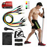 11Pcs Resistance Band Gym Yoga Pilates Exercise Fitness Tube Workout Bands Home