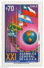 Chile 1991 #1511 XXI Asamblea General de la OEA MNH