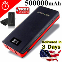 USA 500000mah Portable Power Bank LCD LED 4 USB Battery Charger For Mobile Phone