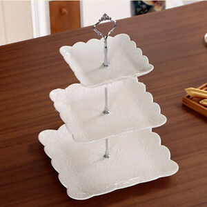 3 Tier Glass Plastic Cake Stand Afternoon Tea Wedding Plates Party Tableware UK