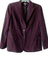 Kasper Womens Eggplant Purple sz 12P  Button Down Polyester Blend Lined Jacket