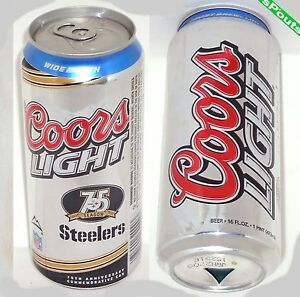 SILVER BULLET STEELERS 2008 75th NFL PITTSBURGH FOOTBALL COORS PINT BEER CAN PA.