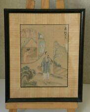 Chinese painting Peinture chinoise scene sur feuille de riz