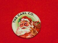 "VINTAGE CHRISTMAS  1 1/4"" ACROSS THE CARL CO. SANTA CLAUS PIN BACK BUTTON"