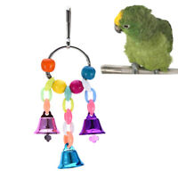 parrot pet bird chew cage hang toy wood large rope swing ladder bell chew tDS
