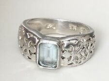 Sterling Silver Topaz Filigree Signed SU 925 TH Size 7 Ring