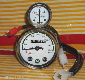 Royal Enfield Motorcycle Speedometer 0-160 KPH White Ammeter