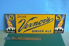 LARGE VERNORS OF DETROIT GINGER ALE SODA PORCELAIN STEEL SIGN IN MINT COND.