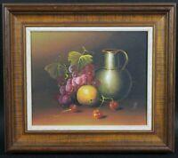 Quadri Natura Olio su tavolo morta con frutta e vaso antichi non firmata
