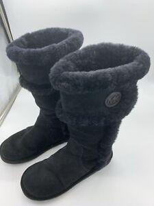 Michael Kors Women's Black Genuine Sheep Fur Winter Boots Sz 7M Leather Upper