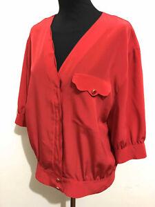 RENATO BALESTRA VINTAGE '80 Camicia Donna Blusa Red Woman Shirt Sz.XL - 48