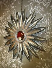 Glace / Miroir soleil en tôle argenté (oeil de sorcière) diam 87 cm
