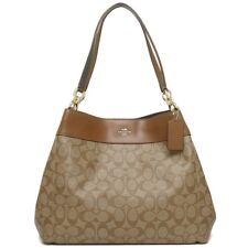 NWT Coach F27972 Signature Lexy Coated Canvas Leather Shoulder Bag Khaki Brown