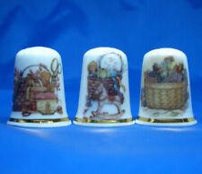 Birchcroft China Thimbles -- Set of Three -- Sewing Baskets