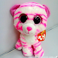 "6"" Cute White/Pink Dog TY Beanie Boos Plush Stuffed Toys Glitter Eyes"