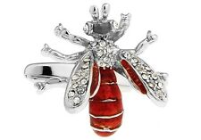 Wasp Pair Cufflinks Silver Red Crystals Bee Wedding Gift Box & Polishing Cloth