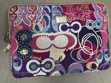 Coach Poppy laptop sleeve tablet case cover purse bag Rare EUC Purple Gold