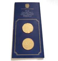 1974 Churchill Centenary Trust Silver Gilt Medallions Artist Parliament Pinches