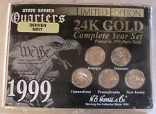 1999 State Series QUARTERS 24K Gold Plated! Denver Mint Sealed!