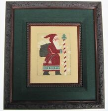 Euro Santa Claus Holiday Needlework Christmas Wall Picture Candy Cane Walking