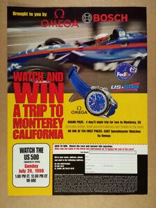 1998 Omega Speedmaster CART Watch US 500 Sweepstakes vintage print Ad