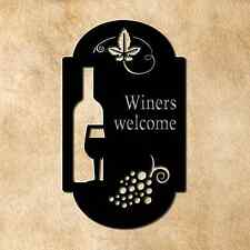Winers Welcome Laser Cut Metal Wine wall sign for bar, game room, or kitchen