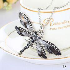 Halskette Libelle Damen Schmuck Dragonfly Silber Schwarz Anhänger Neu 536#