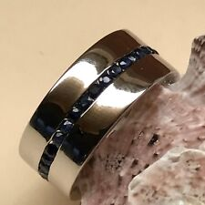 Natural 2ct Blue Sapphire 925 Solid Sterling Silver Men's Designer Band Ring 12