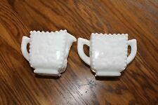 Westmoreland Milk Glass Grape Beaded Edge Square Creamer & Sugar Bowl